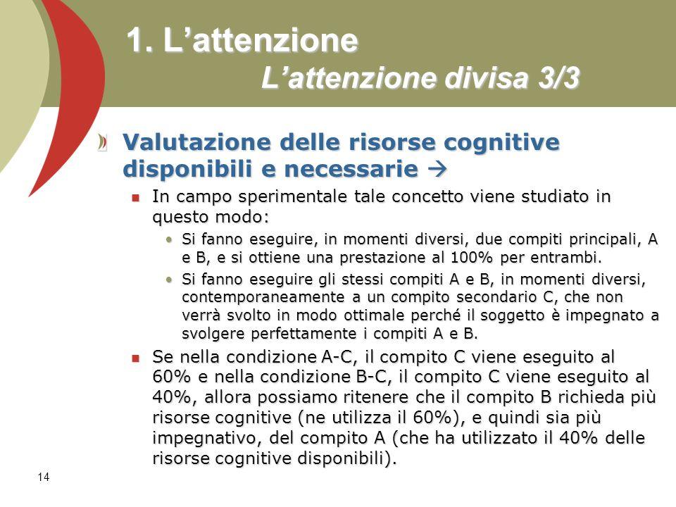 14 1. Lattenzione Lattenzione divisa 3/3 Valutazione delle risorse cognitive disponibili e necessarie Valutazione delle risorse cognitive disponibili