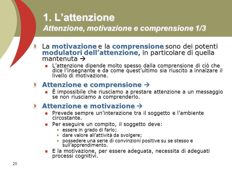 20 1. Lattenzione Attenzione, motivazione e comprensione 1/3 La motivazione e la comprensione sono dei potenti modulatori dellattenzione, in particola