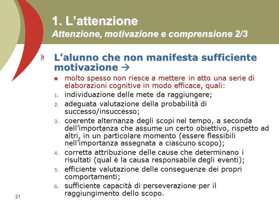 21 1. Lattenzione Attenzione, motivazione e comprensione 2/3 Lalunno che non manifesta sufficiente motivazione Lalunno che non manifesta sufficiente m