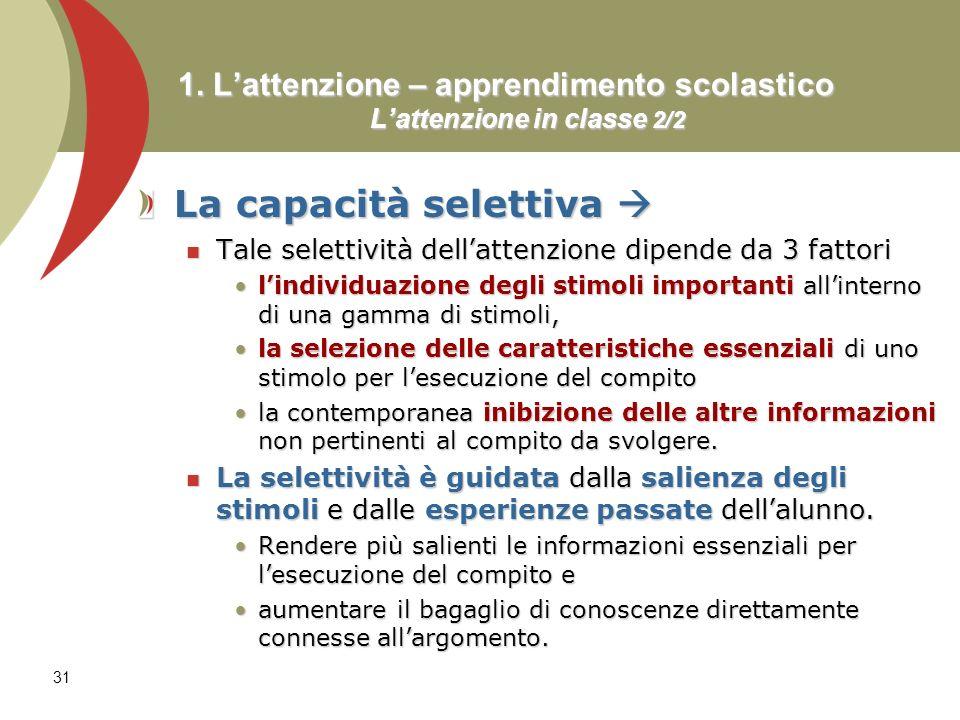 31 1. Lattenzione – apprendimento scolastico Lattenzione in classe 2/2 La capacità selettiva La capacità selettiva Tale selettività dellattenzione dip