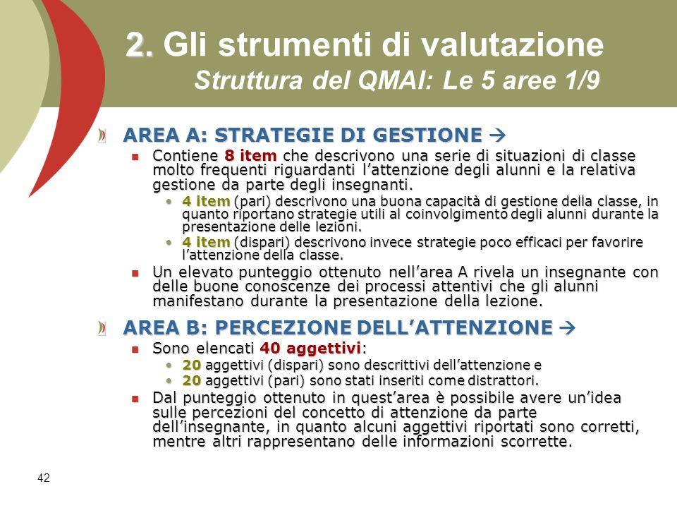 42 2. 2. Gli strumenti di valutazione Struttura del QMAI: Le 5 aree 1/9 AREA A: STRATEGIE DI GESTIONE AREA A: STRATEGIE DI GESTIONE Contiene 8 item ch