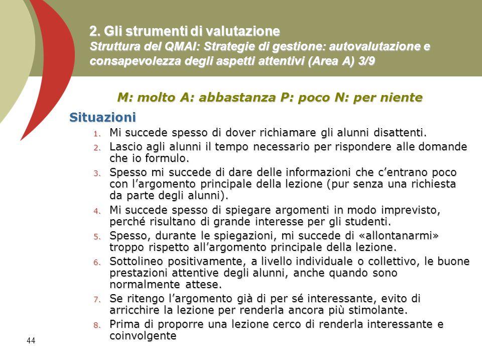 44 2. Gli strumenti di valutazione Struttura del QMAI: Strategie di gestione: autovalutazione e consapevolezza degli aspetti attentivi (Area A) 3/9 M: