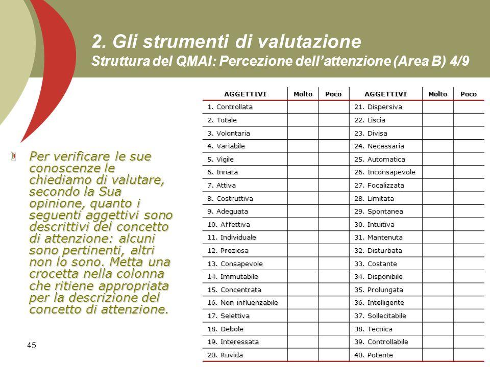 45 2. Gli strumenti di valutazione Struttura del QMAI: Percezione dellattenzione (Area B) 4/9 Per verificare le sue conoscenze le chiediamo di valutar