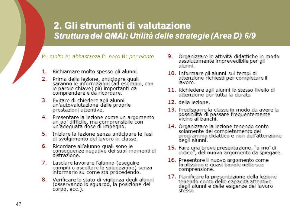 47 2. Gli strumenti di valutazione Struttura del QMAI: 2. Gli strumenti di valutazione Struttura del QMAI: Utilità delle strategie (Area D) 6/9 M: mol