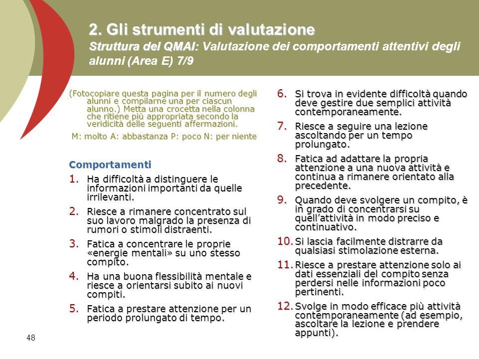 48 2. Gli strumenti di valutazione Struttura del QMAI: 2. Gli strumenti di valutazione Struttura del QMAI: Valutazione dei comportamenti attentivi deg