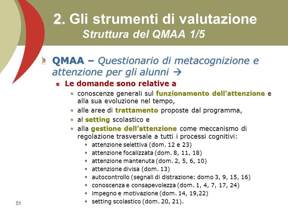 51 2. 2. Gli strumenti di valutazione Struttura del QMAA 1/5 QMAA – Questionario di metacognizione e attenzione per gli alunni QMAA – Questionario di