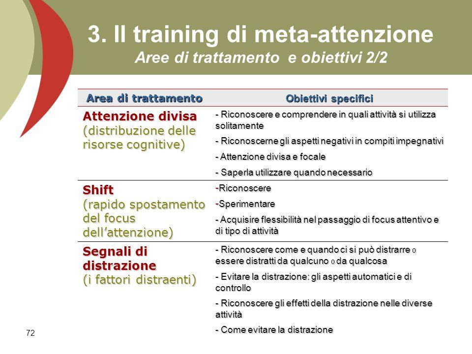 72 3. Il training di meta-attenzione Aree di trattamento e obiettivi 2/2 Area di trattamento Obiettivi specifici Attenzione divisa (distribuzione dell
