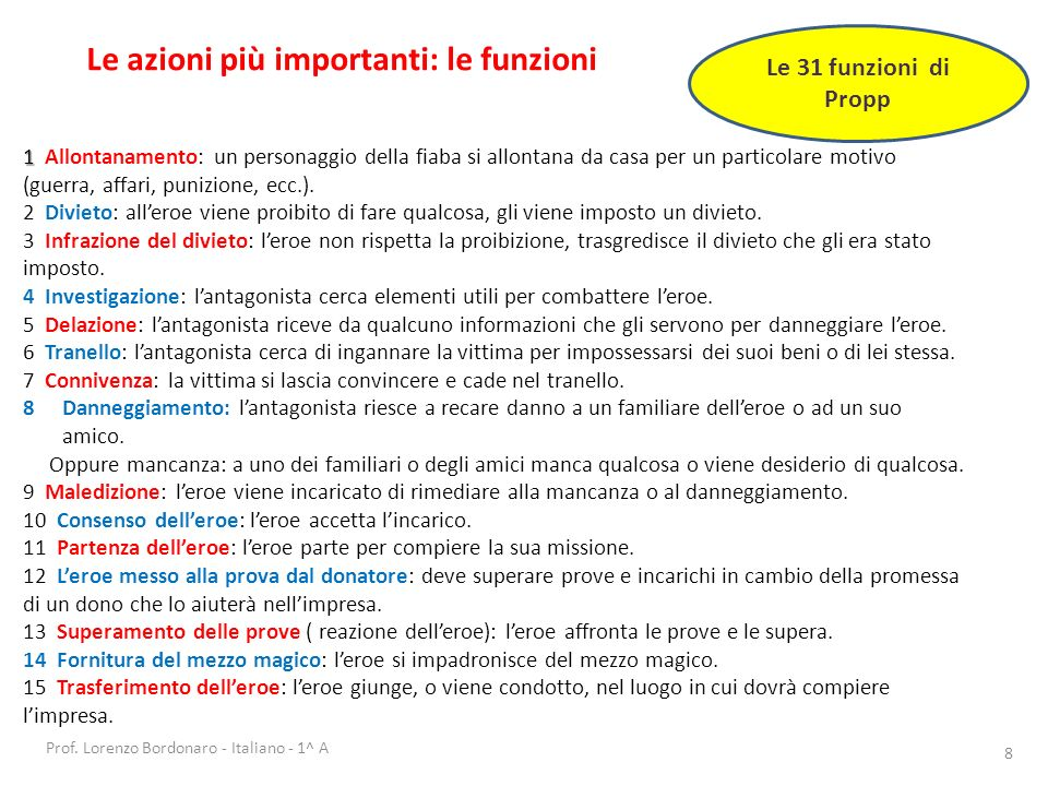 Prof. Lorenzo Bordonaro - Italiano - 1^ A 8 Le azioni più importanti: le funzioni Le 31 funzioni di Propp 1 1 Allontanamento: un personaggio della fia