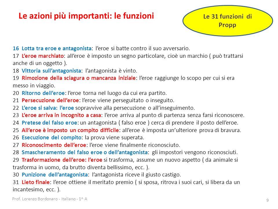 Prof. Lorenzo Bordonaro - Italiano - 1^ A 9 Le azioni più importanti: le funzioni Le 31 funzioni di Propp 16 Lotta tra eroe e antagonista: leroe si ba