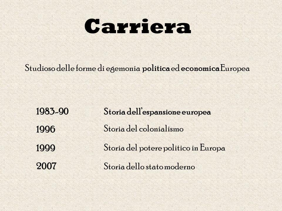 Carriera 1996 1999 1983-90 2007 Storia del colonialismo Storia del potere politico in Europa Storia dello stato moderno Storia dellespansione europea Studioso delle forme di egemonia politica ed economica Europea