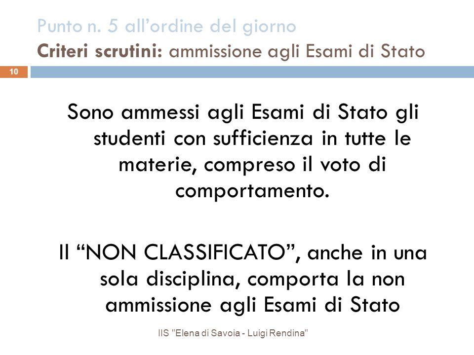 Punto n. 5 allordine del giorno Criteri scrutini: ammissione agli Esami di Stato Sono ammessi agli Esami di Stato gli studenti con sufficienza in tutt