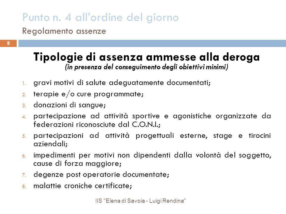 Punto n. 4 allordine del giorno Regolamento assenze Tipologie di assenza ammesse alla deroga (in presenza del conseguimento degli obiettivi minimi) 1.