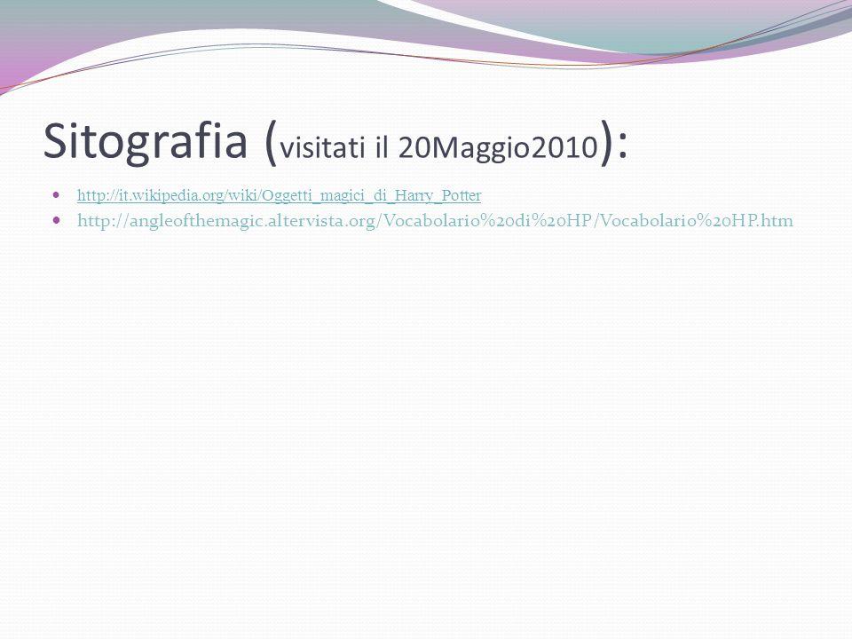 Sitografia ( visitati il 20Maggio2010 ): http://it.wikipedia.org/wiki/Oggetti_magici_di_Harry_Potter http://angleofthemagic.altervista.org/Vocabolario