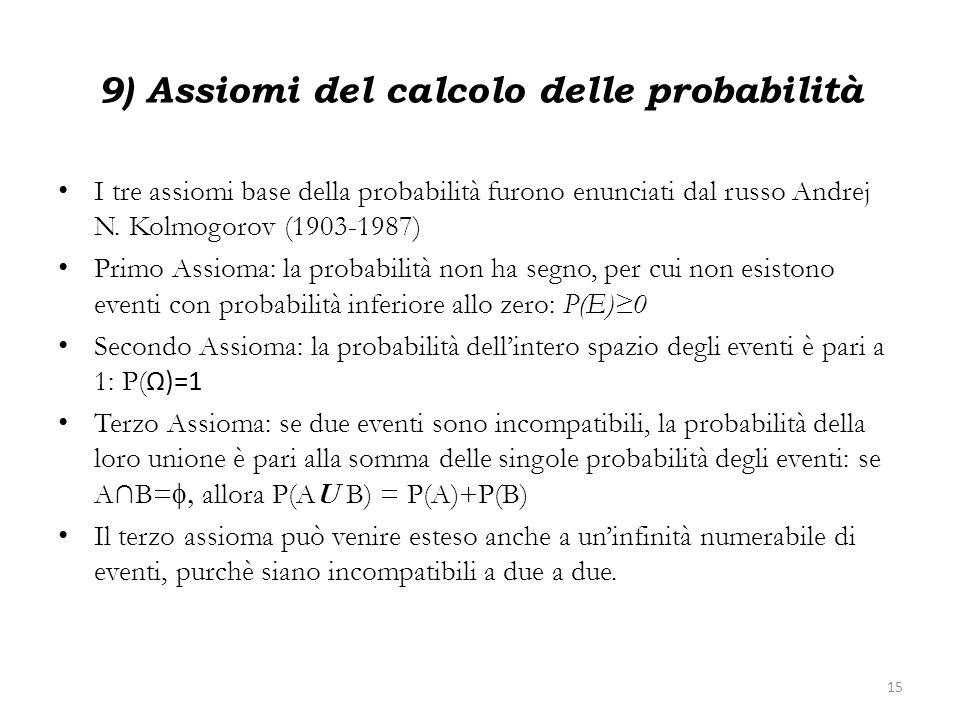 9) Assiomi del calcolo delle probabilità I tre assiomi base della probabilità furono enunciati dal russo Andrej N. Kolmogorov (1903-1987) Primo Assiom
