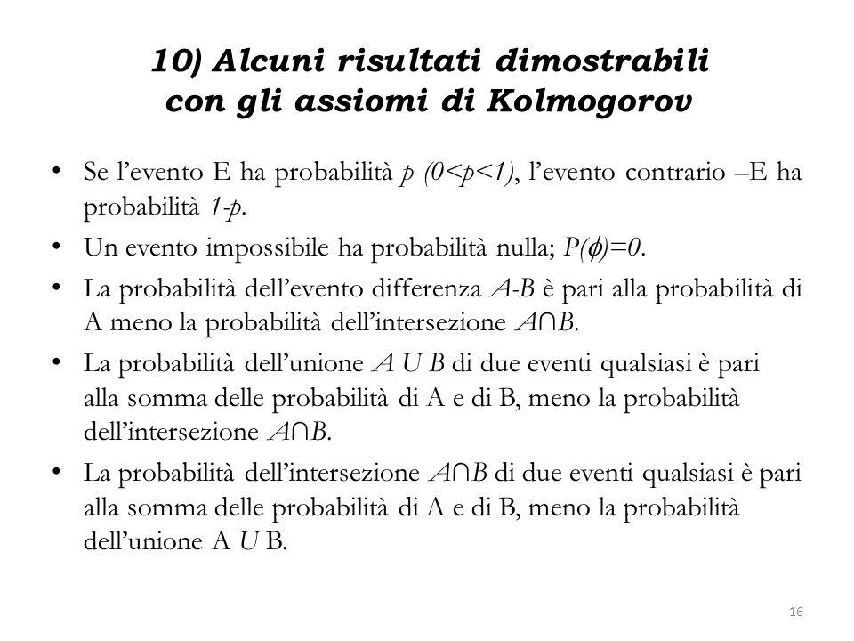 10) Alcuni risultati dimostrabili con gli assiomi di Kolmogorov Se levento E ha probabilità p (0<p<1), levento contrario –E ha probabilità 1-p. Un eve
