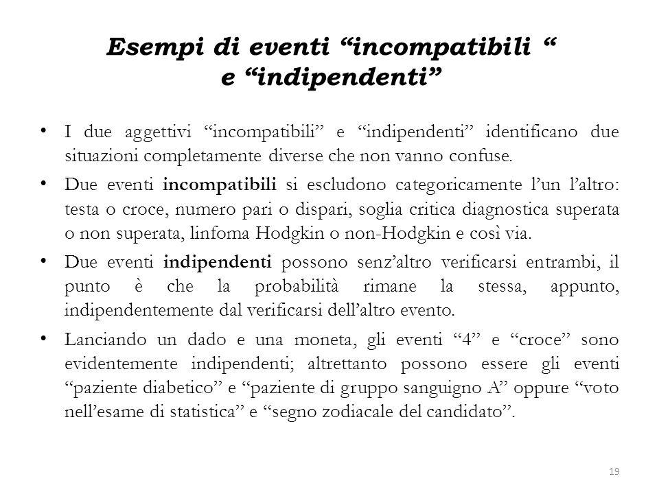 Esempi di eventi incompatibili e indipendenti I due aggettivi incompatibili e indipendenti identificano due situazioni completamente diverse che non v