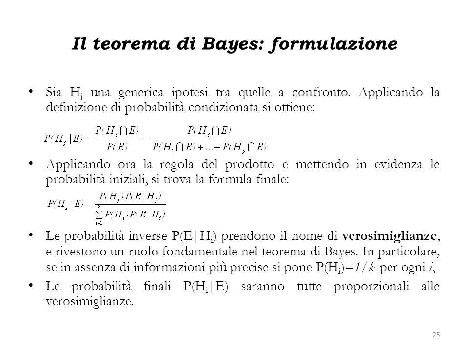 Il teorema di Bayes: formulazione Sia H j una generica ipotesi tra quelle a confronto. Applicando la definizione di probabilità condizionata si ottien