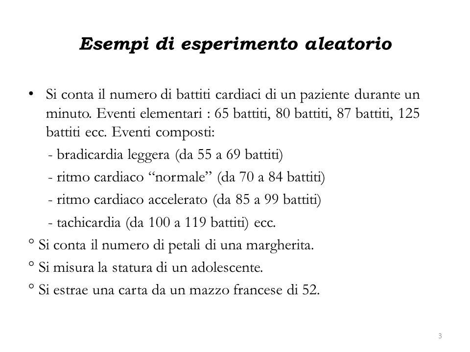 Esempi di esperimento aleatorio Si conta il numero di battiti cardiaci di un paziente durante un minuto. Eventi elementari : 65 battiti, 80 battiti, 8