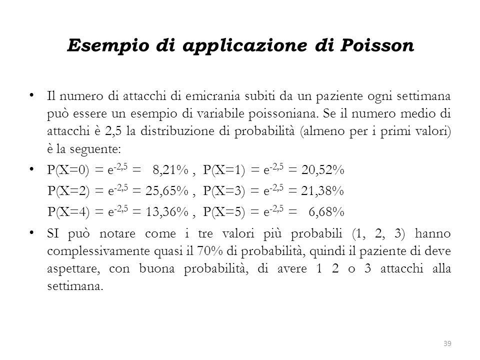 Esempio di applicazione di Poisson Il numero di attacchi di emicrania subiti da un paziente ogni settimana può essere un esempio di variabile poissoni