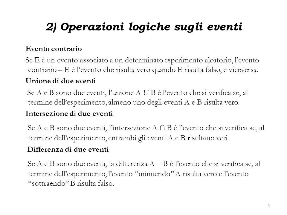 2) Operazioni logiche sugli eventi Evento contrario Se E è un evento associato a un determinato esperimento aleatorio, levento contrario – E è levento