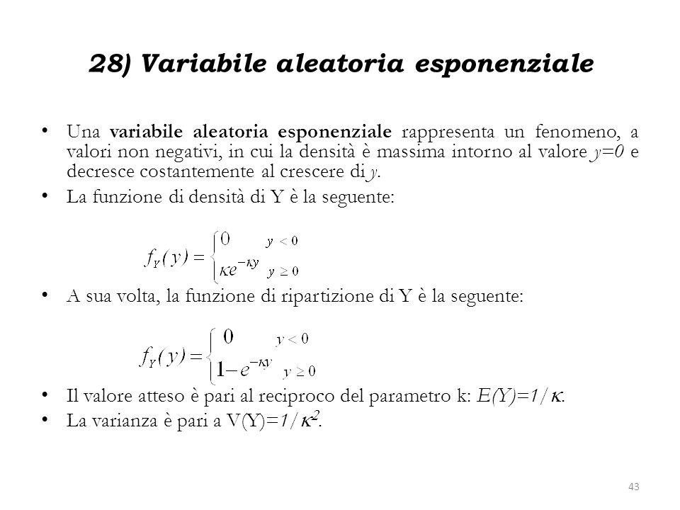 28) Variabile aleatoria esponenziale Una variabile aleatoria esponenziale rappresenta un fenomeno, a valori non negativi, in cui la densità è massima