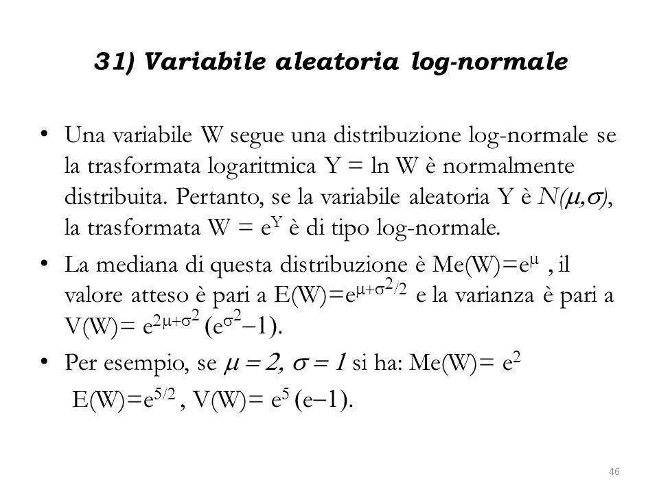 31) Variabile aleatoria log-normale Una variabile W segue una distribuzione log-normale se la trasformata logaritmica Y = ln W è normalmente distribui