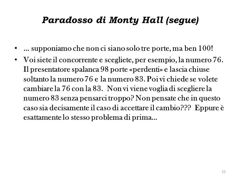 Paradosso di Monty Hall (segue) … supponiamo che non ci siano solo tre porte, ma ben 100! Voi siete il concorrente e scegliete, per esempio, la numero