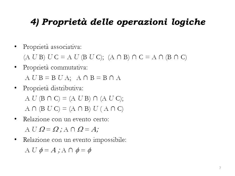 4) Proprietà delle operazioni logiche Proprietà associativa: (A U B) U C = A U (B U C); (A B) C = A (B C) Proprietà commutativa: A U B = B U A; A B =