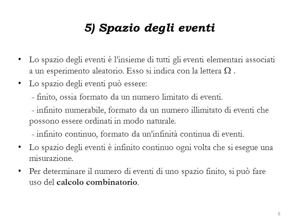 5) Spazio degli eventi Lo spazio degli eventi è linsieme di tutti gli eventi elementari associati a un esperimento aleatorio. Esso si indica con la le