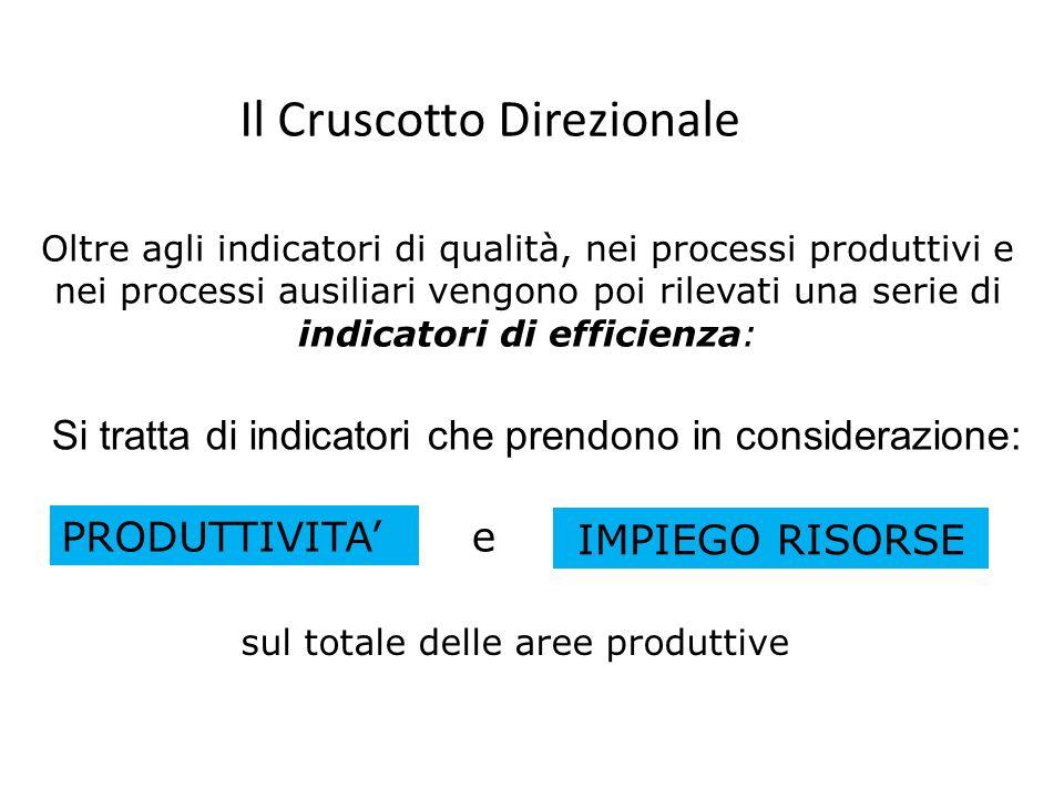 Il Cruscotto Direzionale Oltre agli indicatori di qualità, nei processi produttivi e nei processi ausiliari vengono poi rilevati una serie di indicato