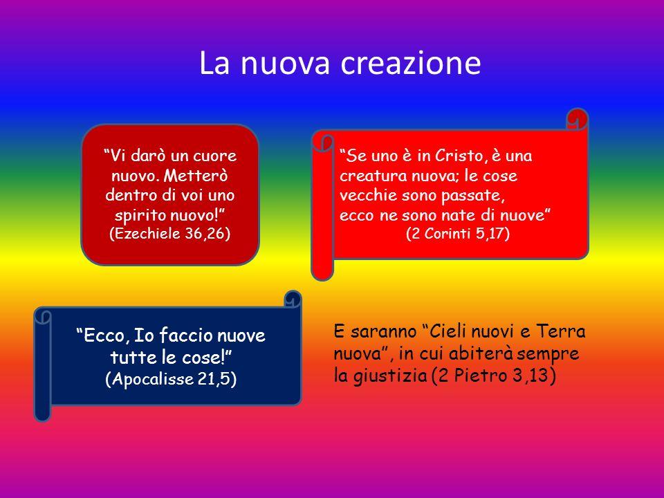 La nuova creazione Vi darò un cuore nuovo. Metterò dentro di voi uno spirito nuovo! (Ezechiele 36,26) Ecco, Io faccio nuove tutte le cose! (Apocalisse