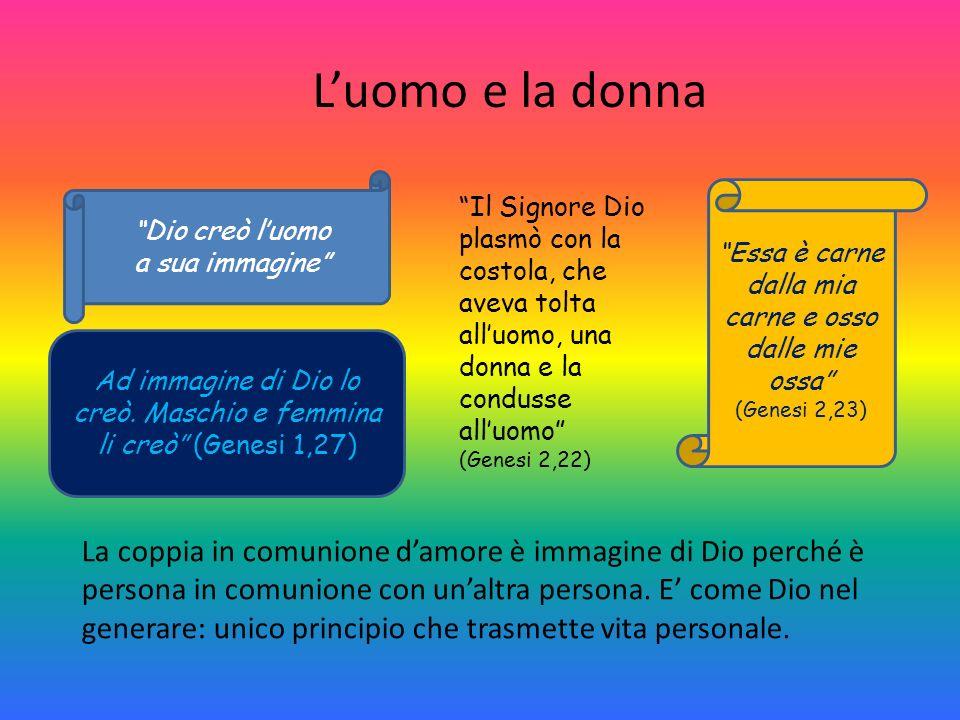 Luomo e la donna Ad immagine di Dio lo creò. Maschio e femmina li creò (Genesi 1,27) Essa è carne dalla mia carne e osso dalle mie ossa (Genesi 2,23)