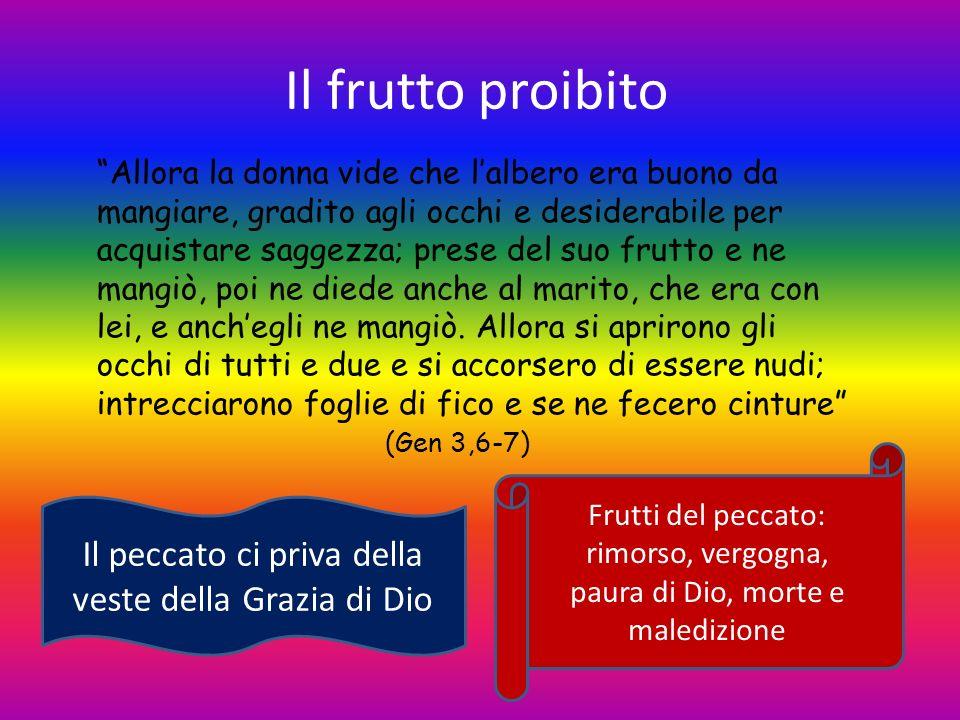 Il frutto proibito Allora la donna vide che lalbero era buono da mangiare, gradito agli occhi e desiderabile per acquistare saggezza; prese del suo fr