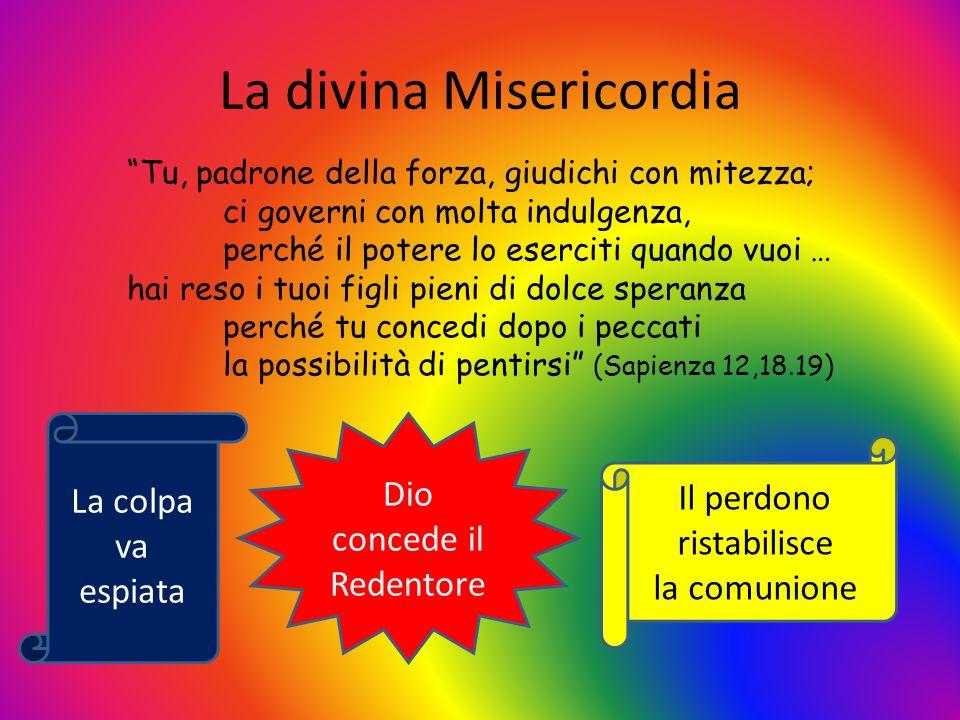 La divina Misericordia La colpa va espiata Dio concede il Redentore Tu, padrone della forza, giudichi con mitezza; ci governi con molta indulgenza, pe
