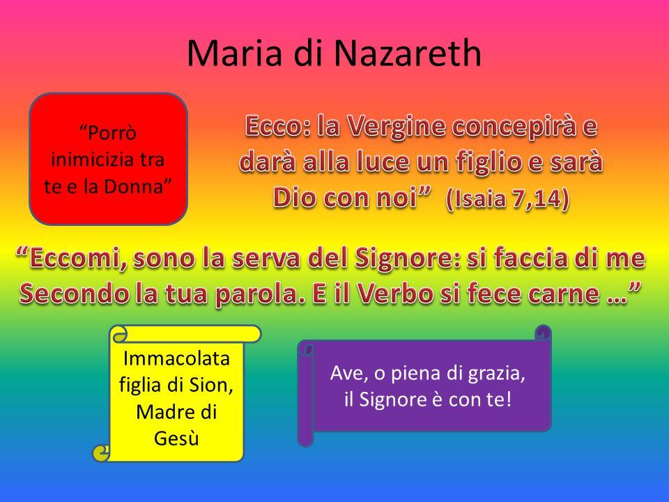 Maria di Nazareth Immacolata figlia di Sion, Madre di Gesù Porrò inimicizia tra te e la Donna Ave, o piena di grazia, il Signore è con te!