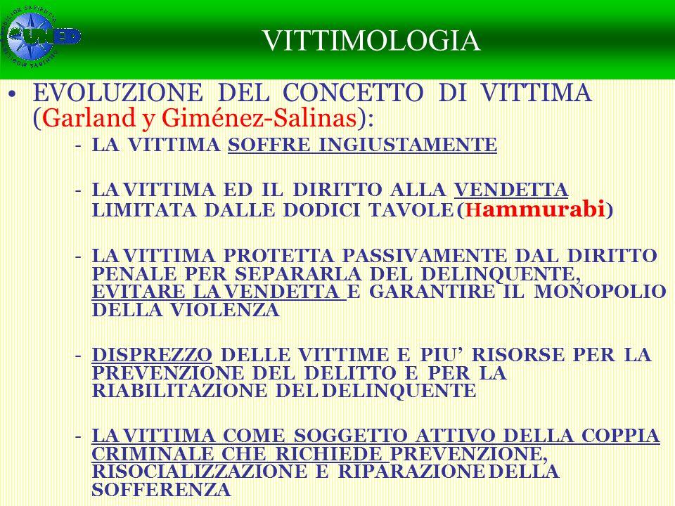 CAMBIO SOCIAL Y PERCEPCIÓN DE LA SEGURIDAD EVOLUZIONE DEL CONCETTO DI VITTIMA (Garland y Giménez-Salinas): -LA VITTIMA SOFFRE INGIUSTAMENTE -LA VITTIMA ED IL DIRITTO ALLA VENDETTA LIMITATA DALLE DODICI TAVOLE (H ammurabi ) -LA VITTIMA PROTETTA PASSIVAMENTE DAL DIRITTO PENALE PER SEPARARLA DEL DELINQUENTE, EVITARE LA VENDETTA E GARANTIRE IL MONOPOLIO DELLA VIOLENZA -DISPREZZO DELLE VITTIME E PIU RISORSE PER LA PREVENZIONE DEL DELITTO E PER LA RIABILITAZIONE DEL DELINQUENTE -LA VITTIMA COME SOGGETTO ATTIVO DELLA COPPIA CRIMINALE CHE RICHIEDE PREVENZIONE, RISOCIALIZZAZIONE E RIPARAZIONE DELLA SOFFERENZA CAMBIO SOCIAL, EVOLUCIÓN DE LA DELINCUENCIA Y PERCEPCIÓN DE LA SEGURIDAD POR LAS VÍCTIMAS VITTIMOLOGIA