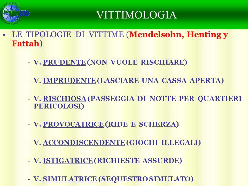 CAMBIO SOCIAL Y PERCEPCIÓN DE LA SEGURIDAD LE TIPOLOGIE DI VITTIME (Mendelsohn, Henting y Fattah) -V. PRUDENTE (NON VUOLE RISCHIARE) -V. IMPRUDENTE (L