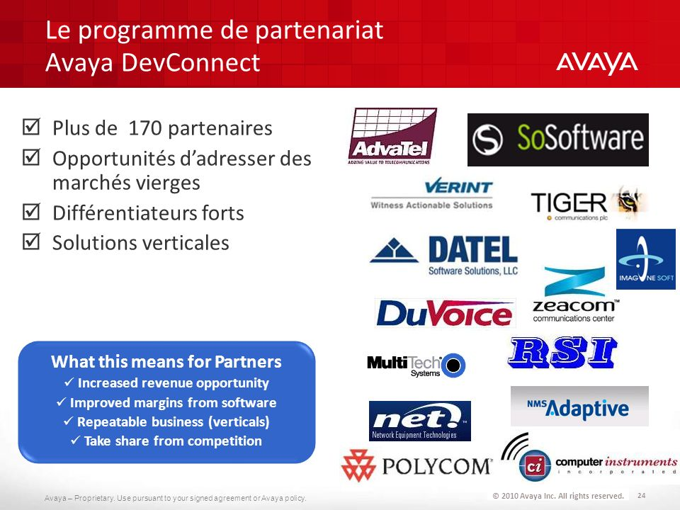 Avaya – Proprietary. Use pursuant to your signed agreement or Avaya policy. 24 © 2010 Avaya Inc. All rights reserved. Le programme de partenariat Avay