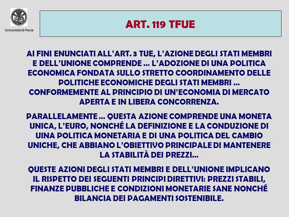 Università di Pavia EVOLUZIONE STORICA - VERTICE DELLAJA (1969) - RAPPORTO WERNER (1970) - SISTEMA MONETARIO EUROPEO (1979): FISSAZIONE DI TASSI DI CAMBIO STABILI RISPETTO A UNUNITÀ DI CAMBIO PREDEFINITA (ECU) - RAPPORTO DELORS (1989) - CONSIGLIO EUROPEO DI MADRID (1989) - TRATTATO DI MAASTRICHT (1992)