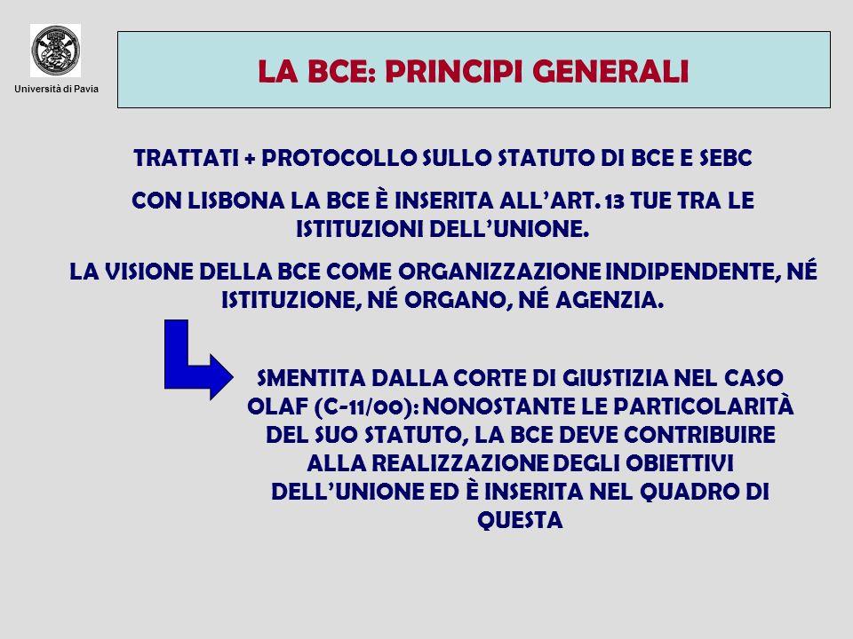 Università di Pavia GLI ORGANI DELLA BCE - CONSIGLIO DIRETTIVO: GOVERNATORI DELLE BANCHE CENTRALI DEGLI STATI DELLEUROZONA + MEMBRI DEL COMITATO ESECUTIVO.