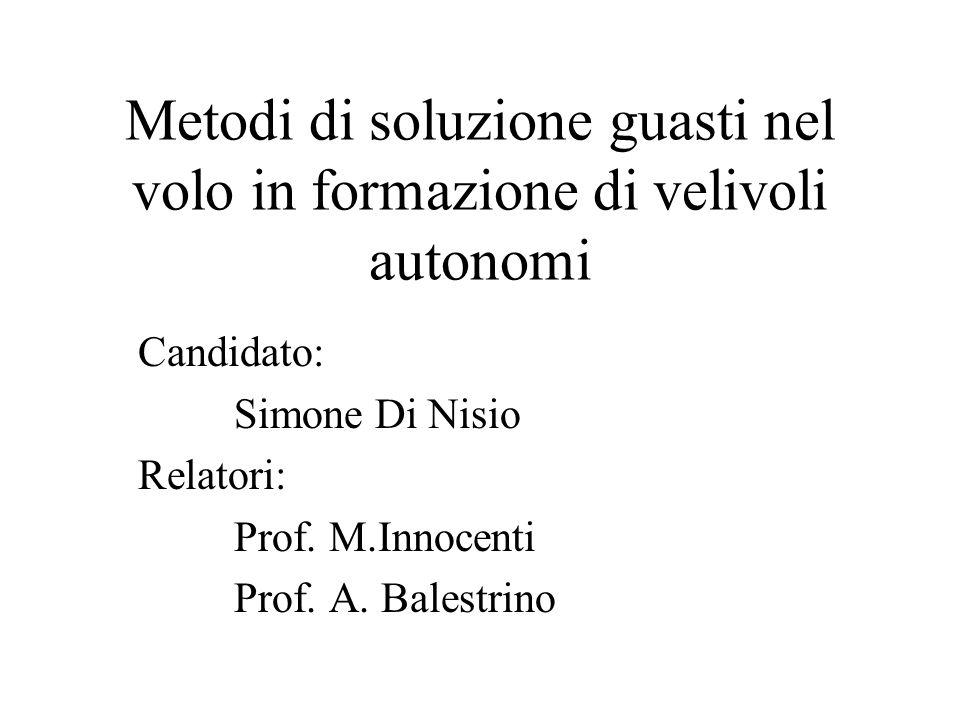 Metodi di soluzione guasti nel volo in formazione di velivoli autonomi Candidato: Simone Di Nisio Relatori: Prof.