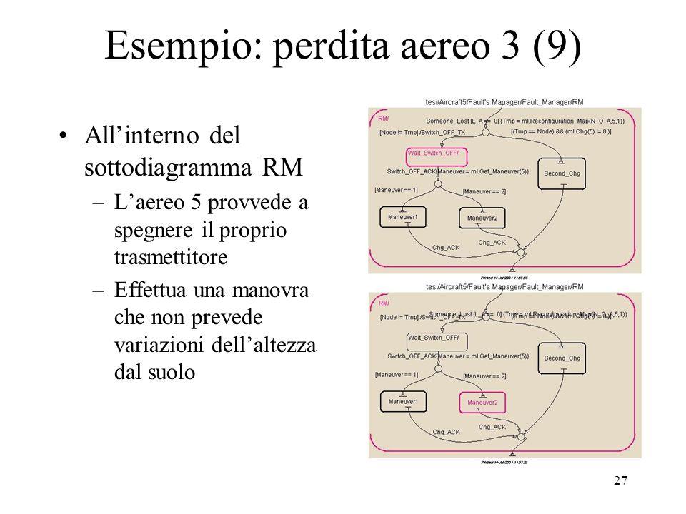 27 Esempio: perdita aereo 3 (9) Allinterno del sottodiagramma RM –Laereo 5 provvede a spegnere il proprio trasmettitore –Effettua una manovra che non prevede variazioni dellaltezza dal suolo