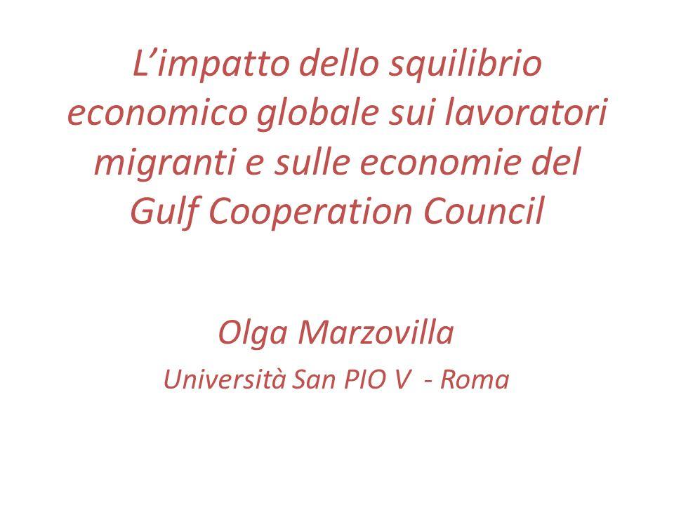 Limpatto dello squilibrio economico globale sui lavoratori migranti e sulle economie del Gulf Cooperation Council Olga Marzovilla Università San PIO V