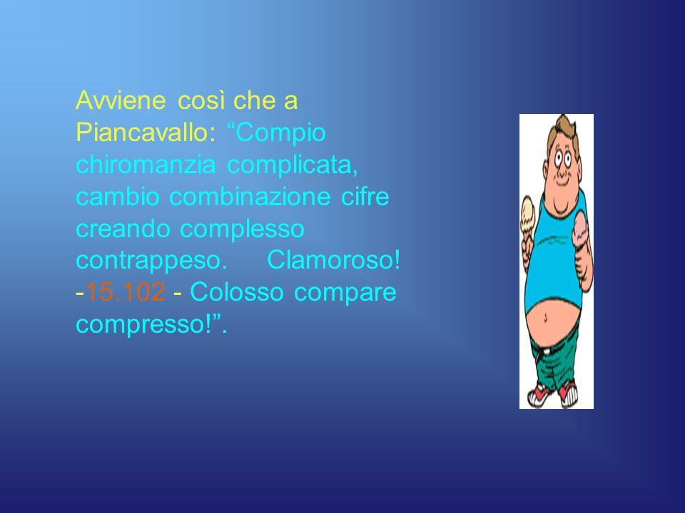 Avviene così che a Piancavallo: Compio chiromanzia complicata, cambio combinazione cifre creando complesso contrappeso.