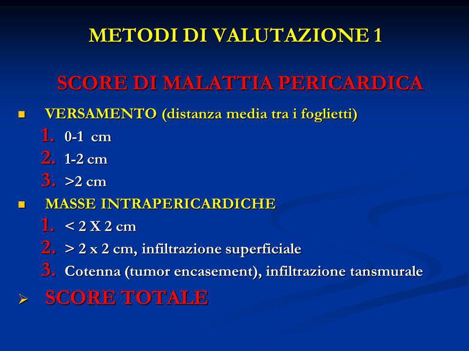 METODI DI VALUTAZIONE 1 SCORE DI MALATTIA PERICARDICA VERSAMENTO (distanza media tra i foglietti) VERSAMENTO (distanza media tra i foglietti) 1. 0-1 c