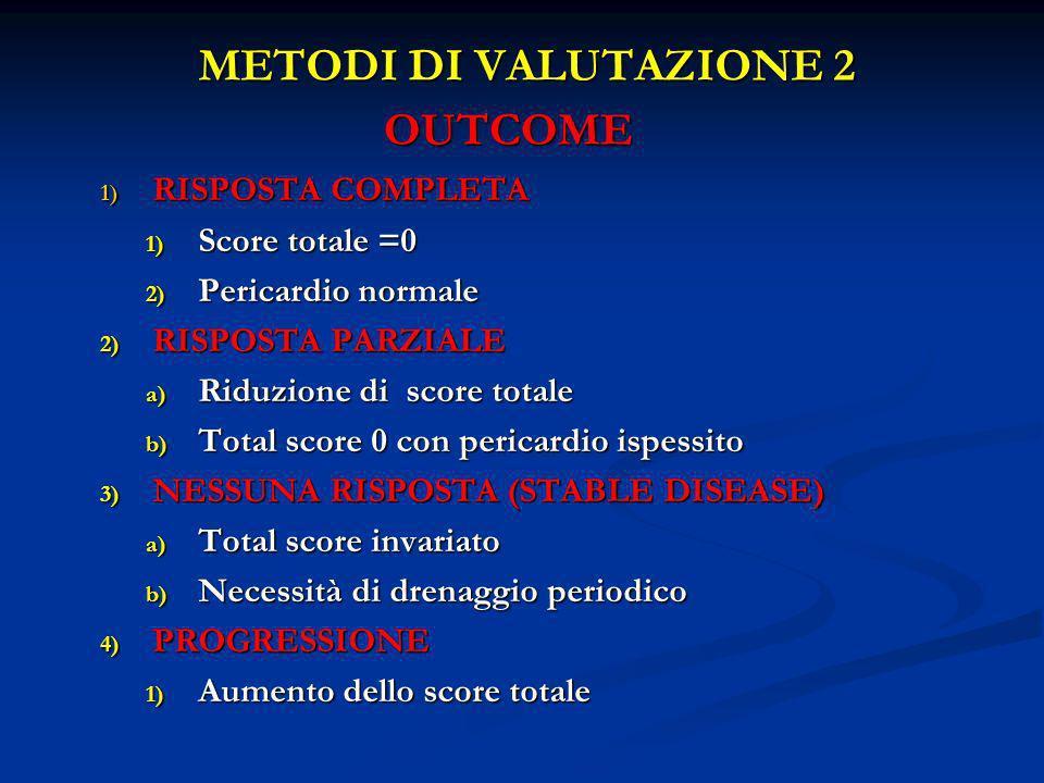 METODI DI VALUTAZIONE 2 OUTCOME 1) RISPOSTA COMPLETA 1) Score totale =0 2) Pericardio normale 2) RISPOSTA PARZIALE a) Riduzione di score totale b) Tot