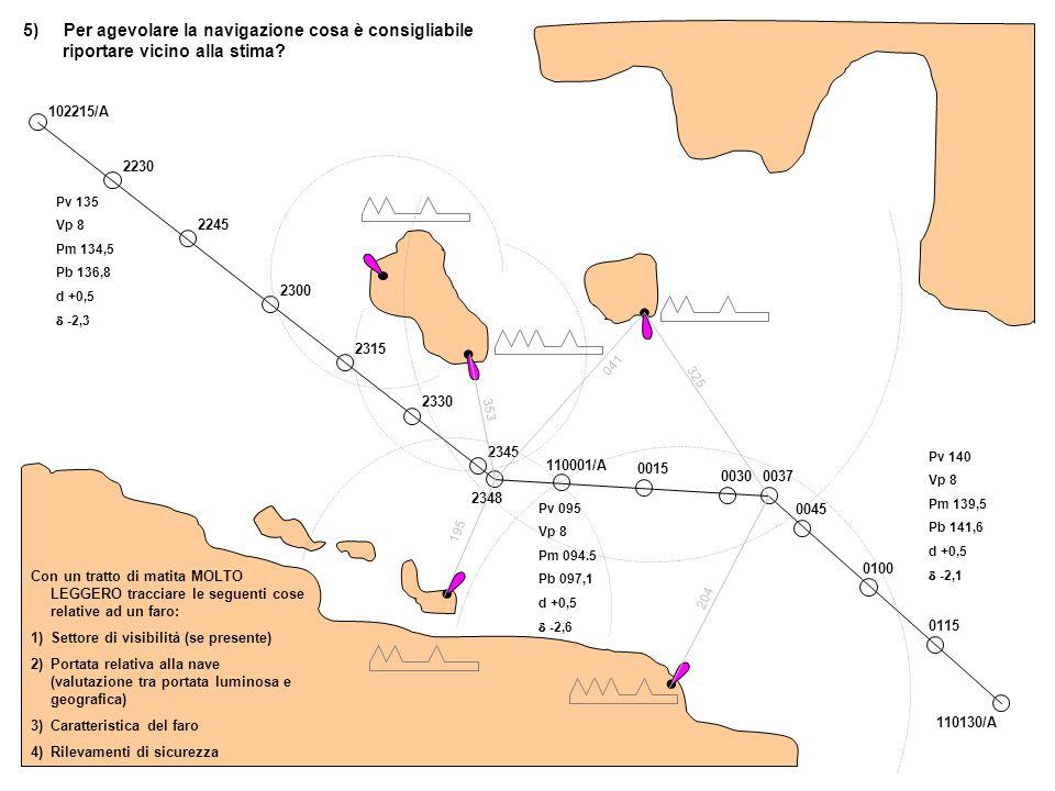 5) Per agevolare la navigazione cosa è consigliabile riportare vicino alla stima? 102215/A 2230 2245 2300 2315 2330 2345 2348 110001/A 0015 0030 0037