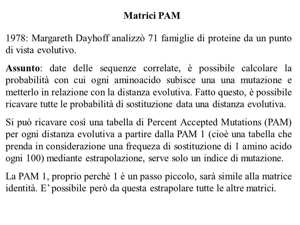 Matrici PAM 1978: Margareth Dayhoff analizzò 71 famiglie di proteine da un punto di vista evolutivo. Assunto: date delle sequenze correlate, è possibi