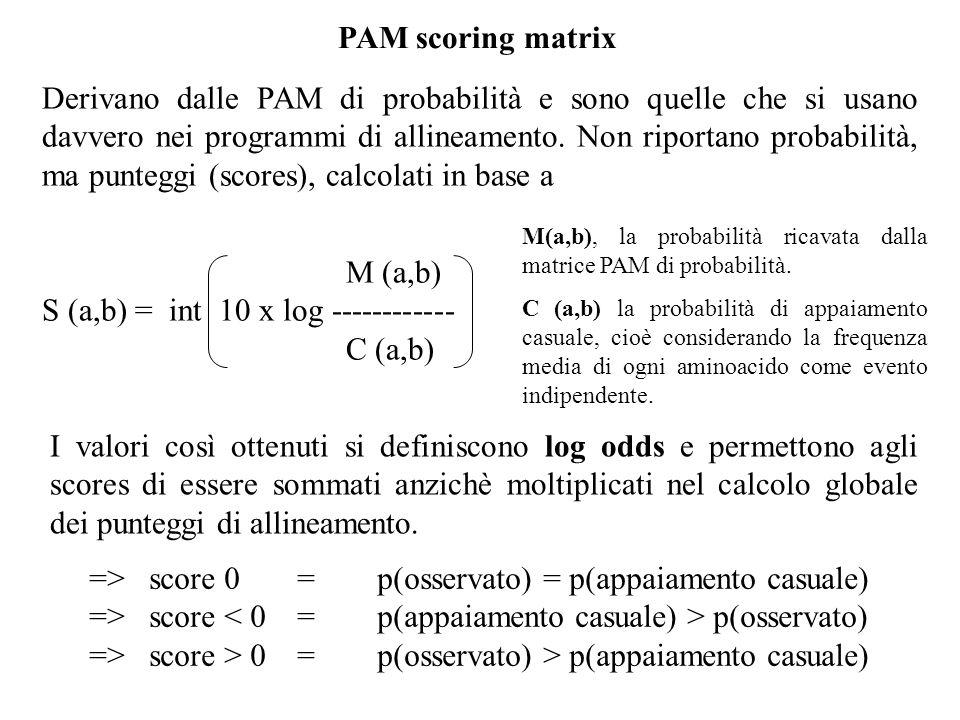 PAM scoring matrix Derivano dalle PAM di probabilità e sono quelle che si usano davvero nei programmi di allineamento. Non riportano probabilità, ma p