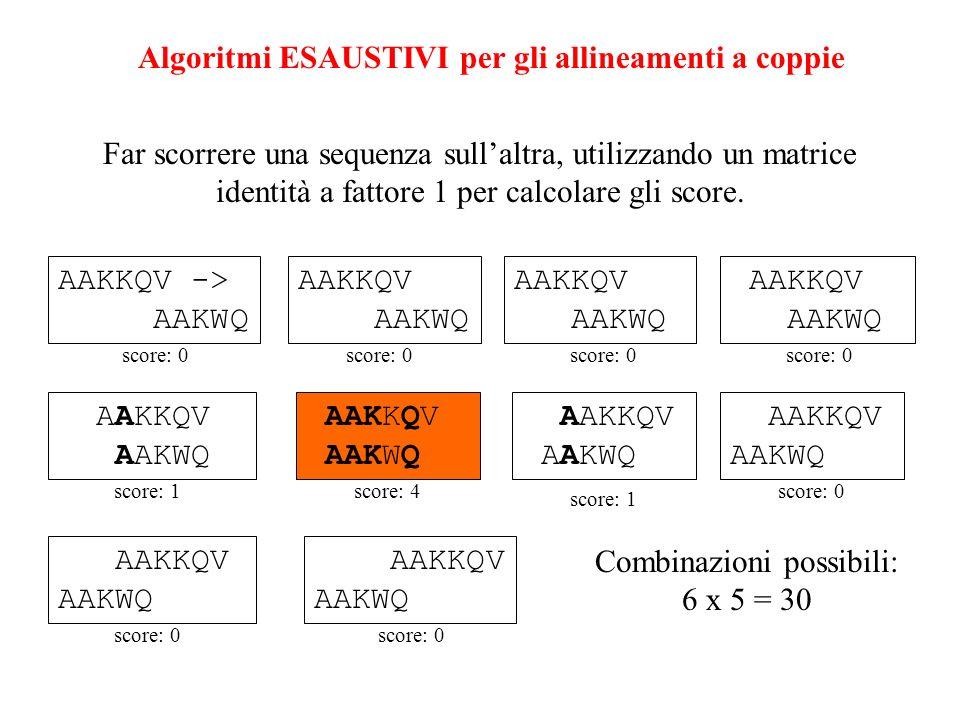 Algoritmi ESAUSTIVI per gli allineamenti a coppie Far scorrere una sequenza sullaltra, utilizzando un matrice identità a fattore 1 per calcolare gli s